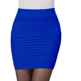 High Waist Candy Color Stretch Mini Skirt