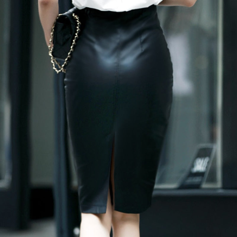 Faux Leather High Waist Bodycon Knee-Length Skirt