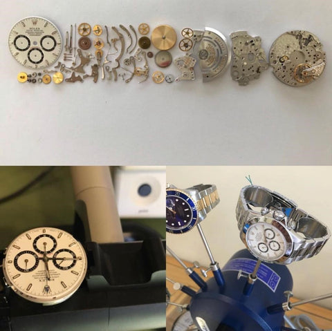 Watch parts for repairs done at Gioielleria Antonio Pezzuto's jewelry and watch repair