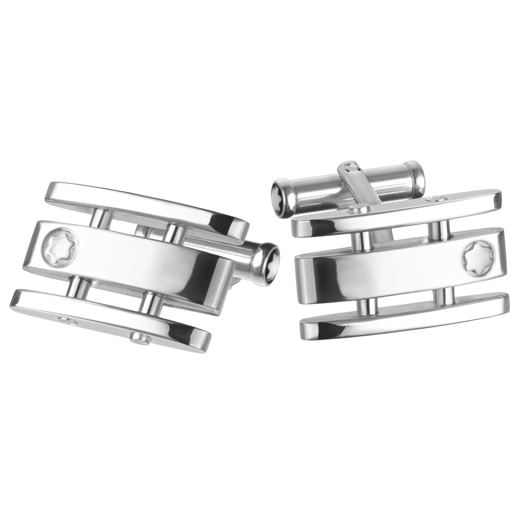 Cufflinks SIL rect with cut out 3 RingPU - [product_body] - Mont Blanc - Gioielleria Antonio Pezzuto