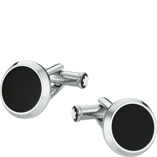 Cuff Links, stainless steel, black onyx - [product_body] - Mont Blanc - Gioielleria Antonio Pezzuto