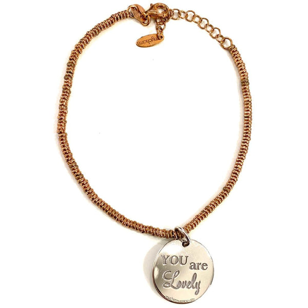 "Bracciale con moneta piccola in argento e incisione ""You are lovely"""