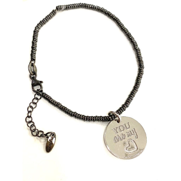 "Bracciale con moneta piccola in argento e incisione ""You are my <3"""