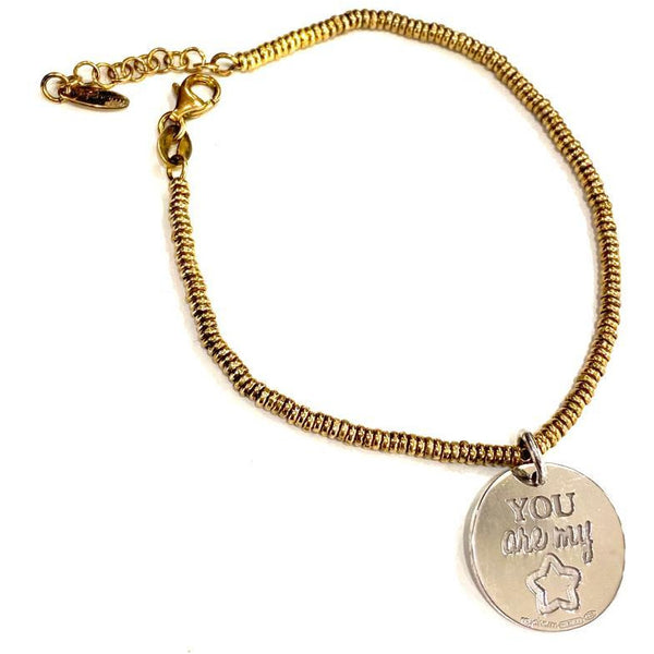 "Bracciale con moneta piccola in argento e incisione ""You are my star"""