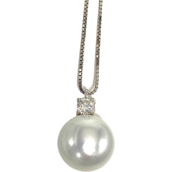 Collana con Perla e Diamante 0,25 ct
