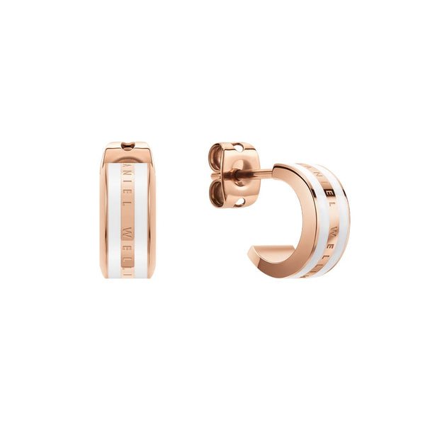 Emalie Earrings Rose Gold Satin White
