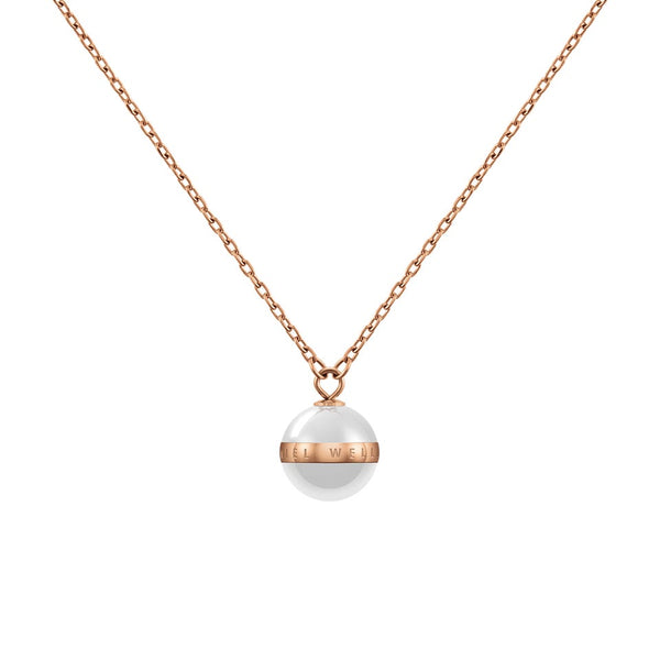 Aspiration Necklace Rose Gold Satin White