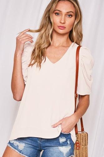 Puff sleeve top ivory