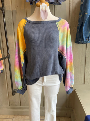 Tyedye blue raglan sweater