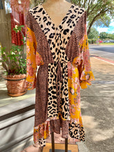 Load image into Gallery viewer, Leopard floral dress