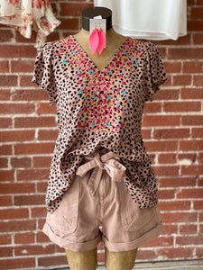 Leopard embroidery top