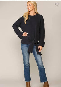 Side tie knit sweater