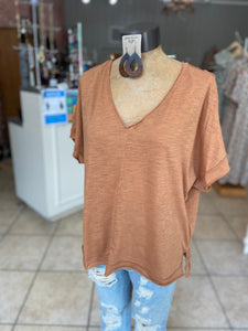 Vneck top cinnamon color