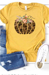Fall pumpkin T-shirt mustard