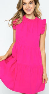 Ruffle neck dress hot pink