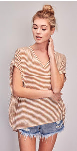 Striped dolman top taupe