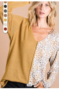 Animal print color block top