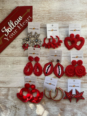 Camel threads red earring collection