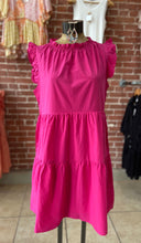 Load image into Gallery viewer, Ruffle neck dress hot pink