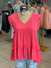 Load image into Gallery viewer, Ruffle sleeve top raspberry