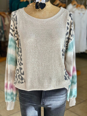 Multi print sweater top