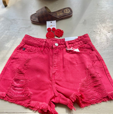 Red distressed shorts