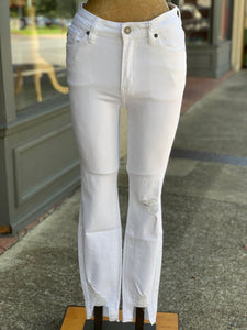 White denim distressed