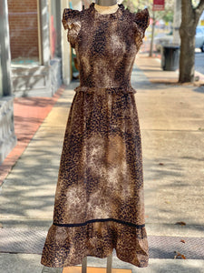 Leopard print smocked dress