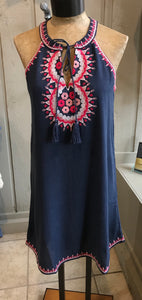 Embroidery halter dress