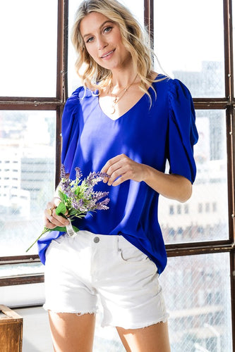 Puff sleeve top royal blue