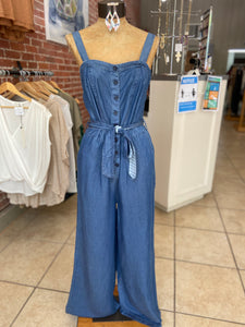Denim romper pant suit