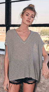 Striped dolman top in black