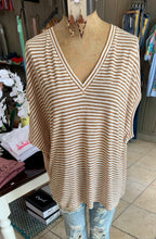 Load image into Gallery viewer, Striped dolman top taupe