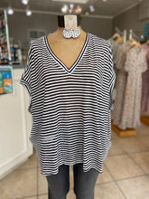 Load image into Gallery viewer, Striped dolman top in black