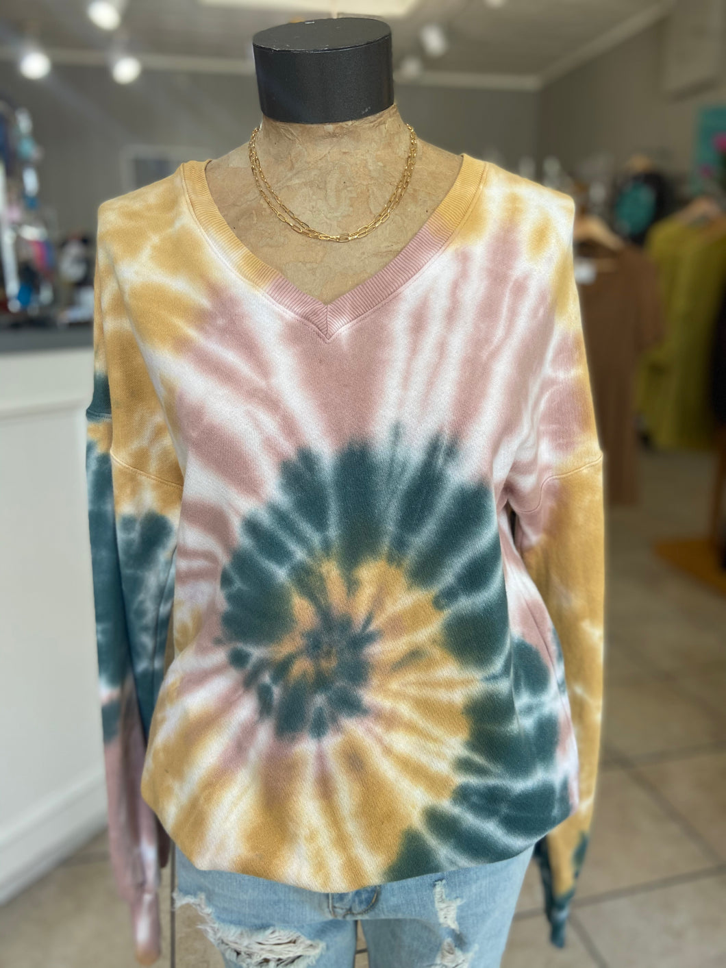 Vneck tyedye hunter green