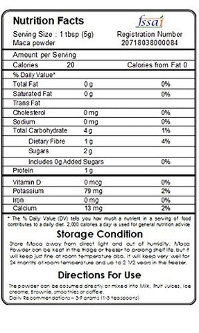 nutrition facts uses