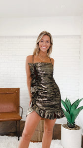 METALLIC RUNCHED DRESS