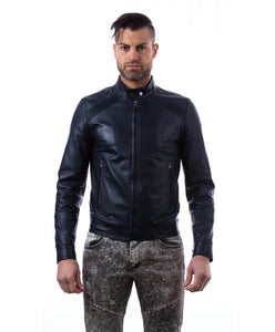 Leather Jacket with quilt on shoulder and central zip blue color mod.Emy