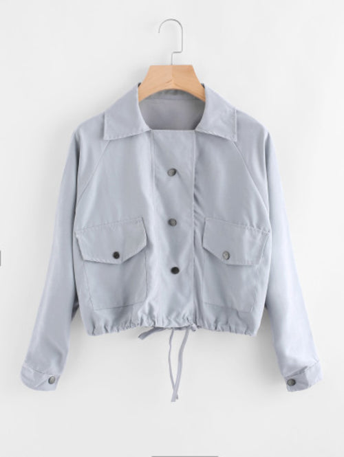 Single Breasted Drawstring Hem Jacket