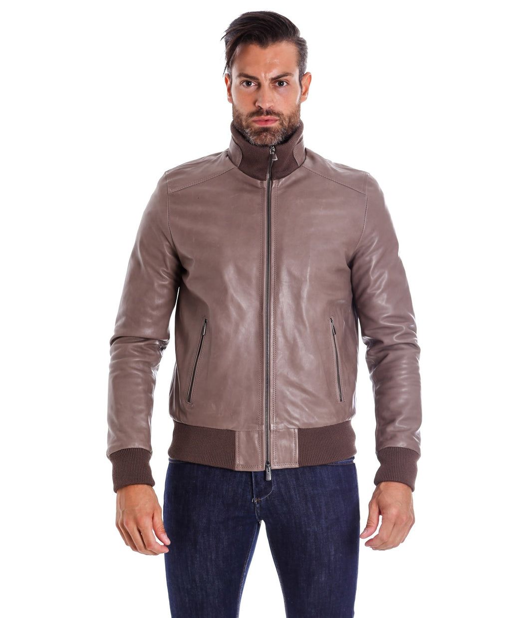 Men's Leather Jacket genuine soft leather style bomber grey color, Bomber