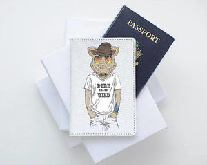Boar Animal Hipster Passport Cover Leather