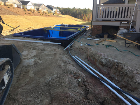 The fiberglass pool is plumbed to the equipment station
