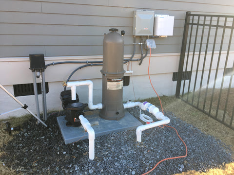 Variable speed pool pump with salt system and cartridge filter with all electrical connections