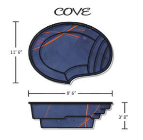 The Cove Fiberglass Pool 11' x 8'