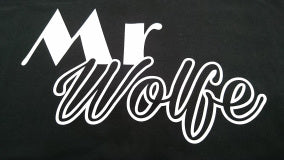 MR WOLFE CUSTOM TEE - WHITE ON BLACK