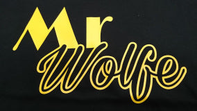 MR WOLFE CUSTOM TEE - YELLOW ON BLACK