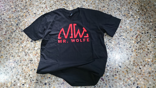 MR WOLFE TRADITIONAL TEE - RED ON BLACK