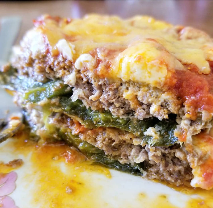 Cheesy Poblano Beef Bake - keto, low carb, sugar-free, gluten free
