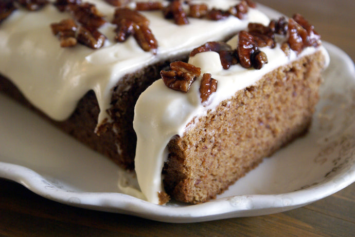 Pumpkin Spice Cake with Maple Cream Cheese Frosting & Glazed Pecans - keto, low carb, sugar-free, gluten free