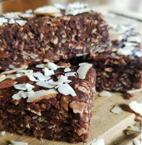 NO BAKE / JUST ADD WATER Cocoa-Almond Chocolate Chip Chewy Granola Bars - low carb, keto, gluten free, sugar free
